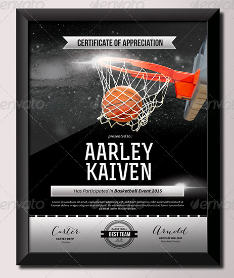 100 best certificate templates 4 basketball certificate template yadclub Images