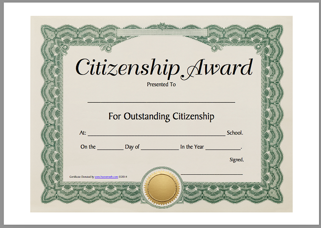 200 best certificate templates 9 free citizenship award printable certificate template yadclub