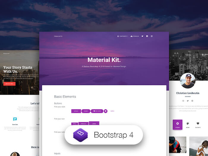 Bootstrap 4 Material Kit Pro