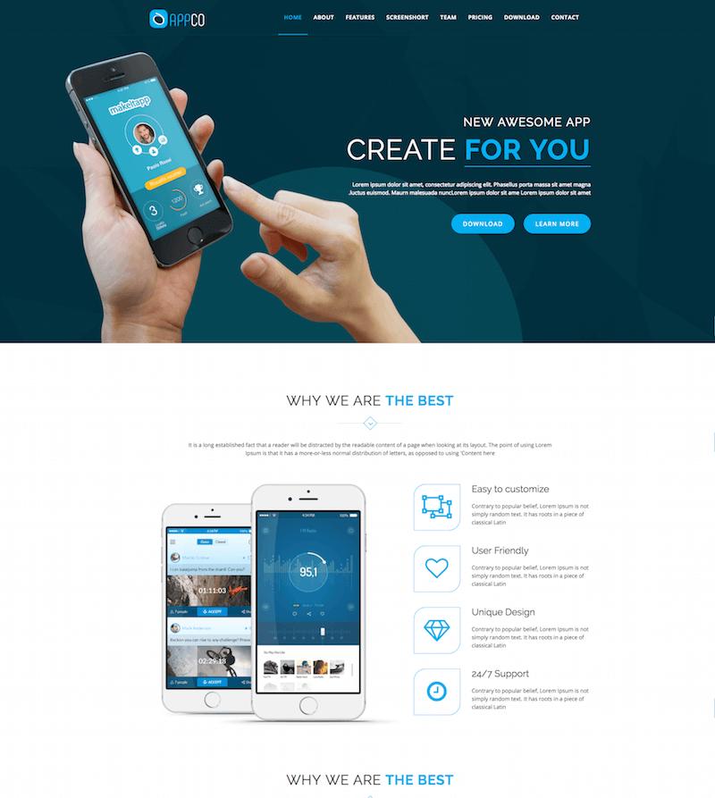 APPCO HTML5 App Landing Template