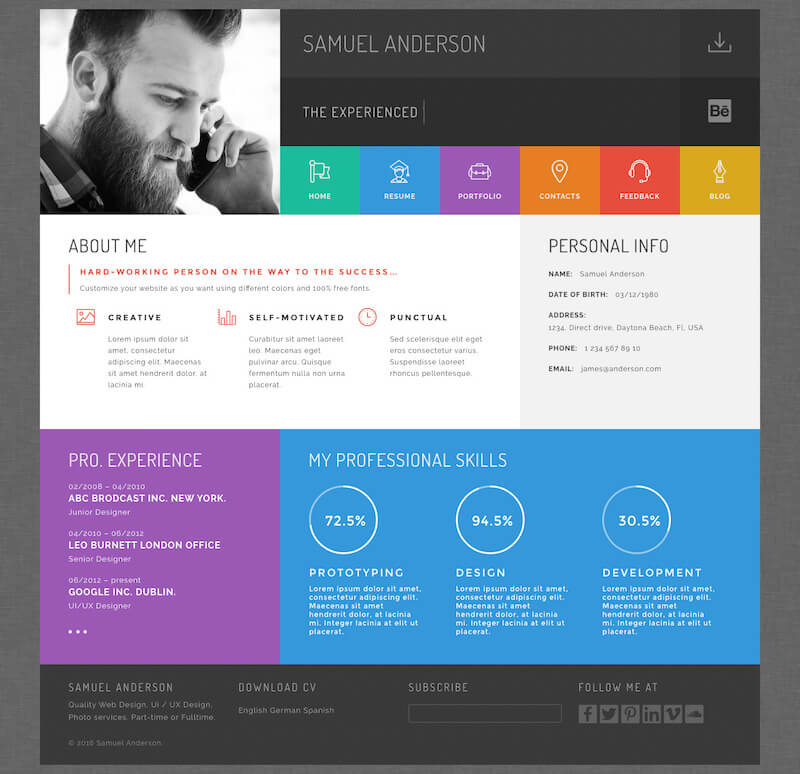 Gridus vCard & CV Resume WordPress