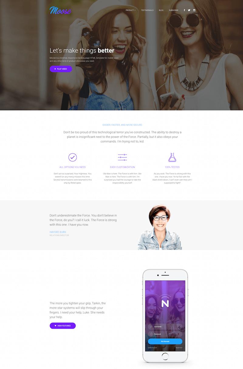 Moose Modern Landing Page HTML Template