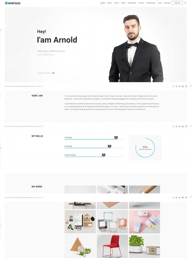 OwnFolio - One Page Personal Portfolio Joomla Template