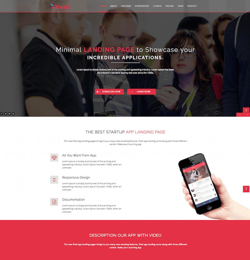 PIXEL HTML5 App Landing Page