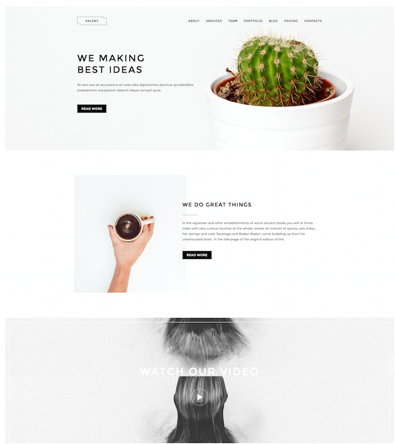Valery Bootstrap Landing Page