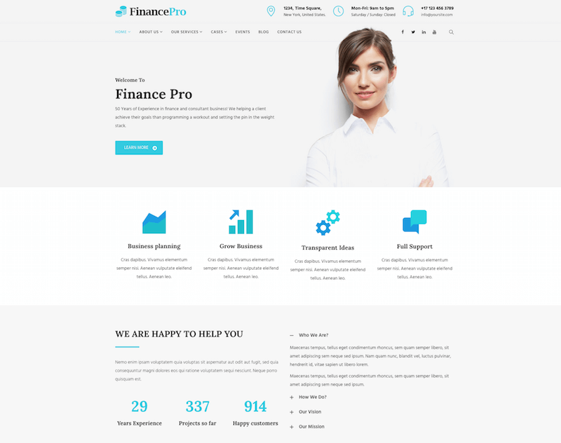 FinancePro WordPress Theme
