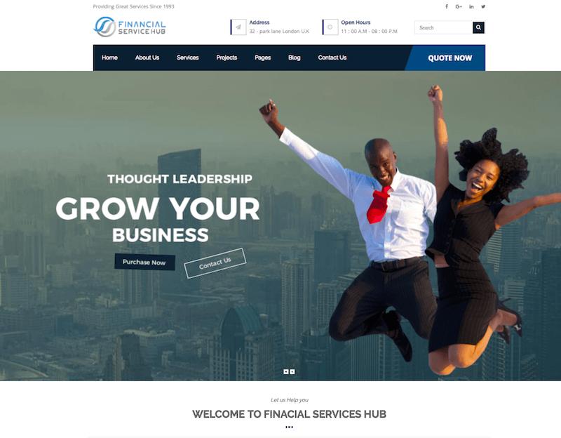 Financial Business Hub Corporate WordPress Theme