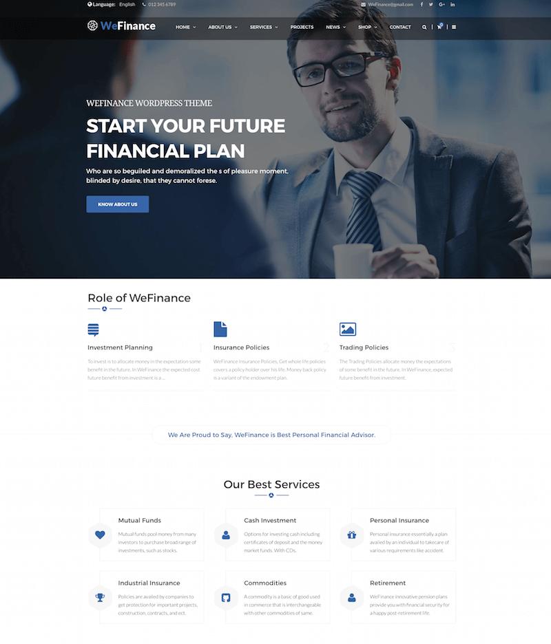 We Finance Finance WordPress Theme