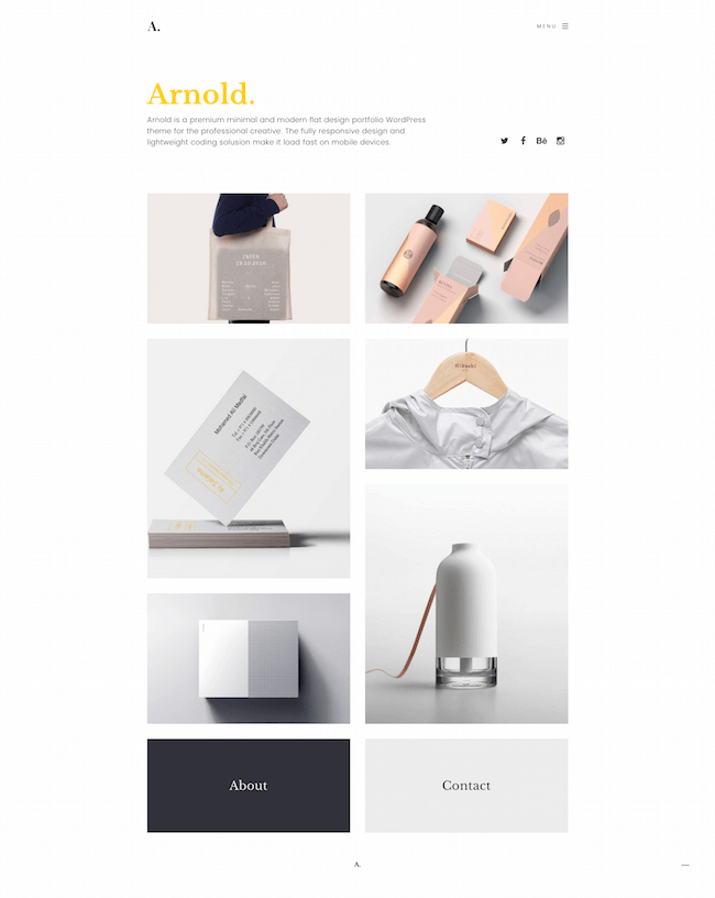 Arnold Minimal Portfolio WordPress Theme