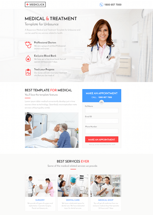 Best HR Report Website Templates - Medical landing page template