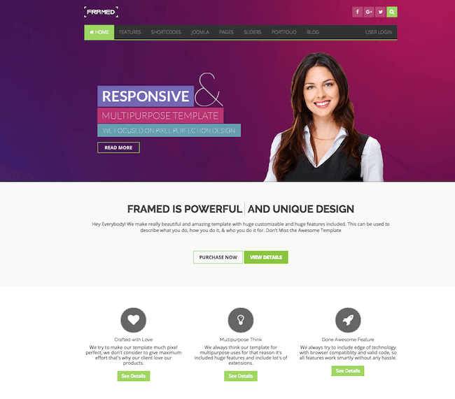 Framed - Multipurpose Joomla Template