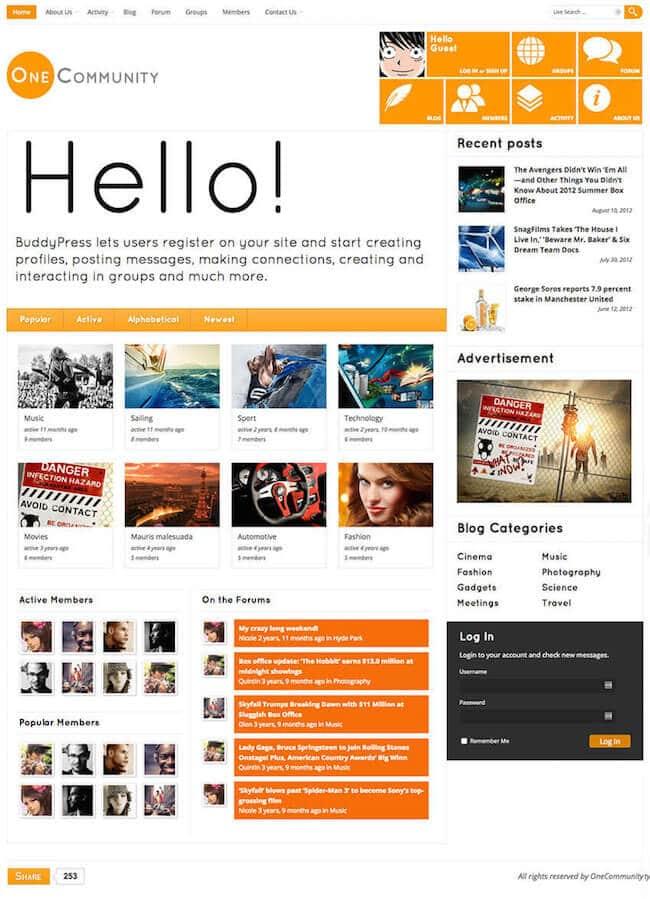 OneCommunity-BuddyPress-theme