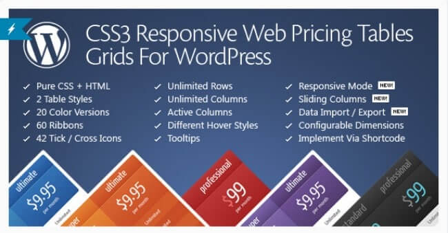 css3 resposnive wordpress compare price tables