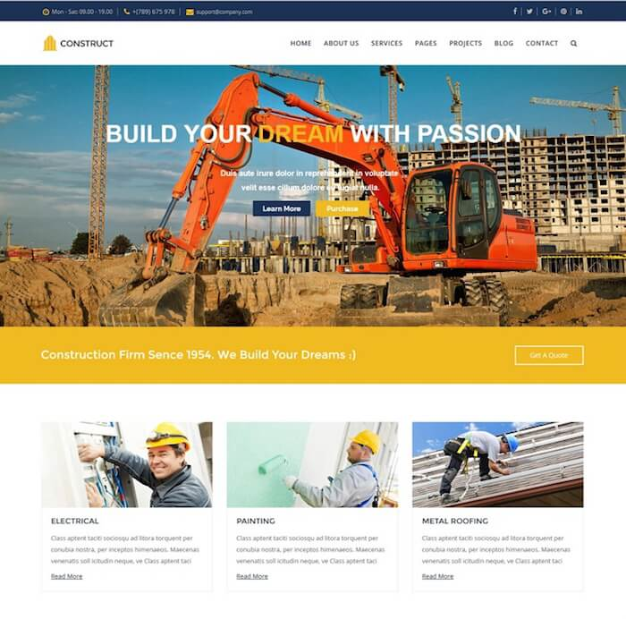 Construct Drupal 8 Business Theme