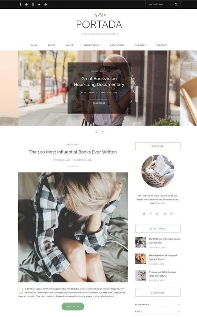 Portada Elegant WordPress Blogging Theme