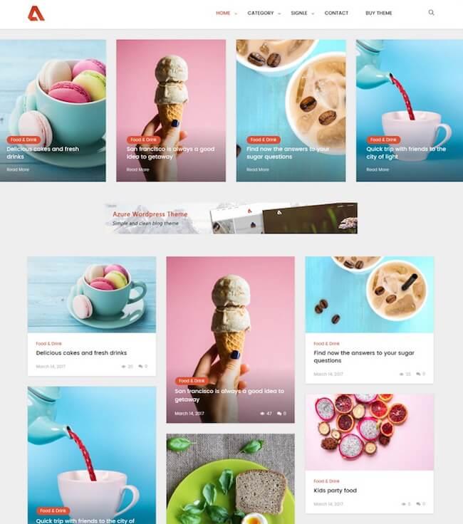 Azure Blog WordPress Themes