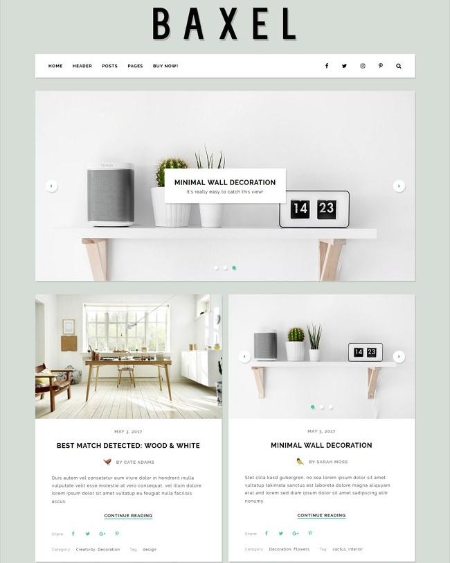 Baxel Minimal Blog Theme for WordPress