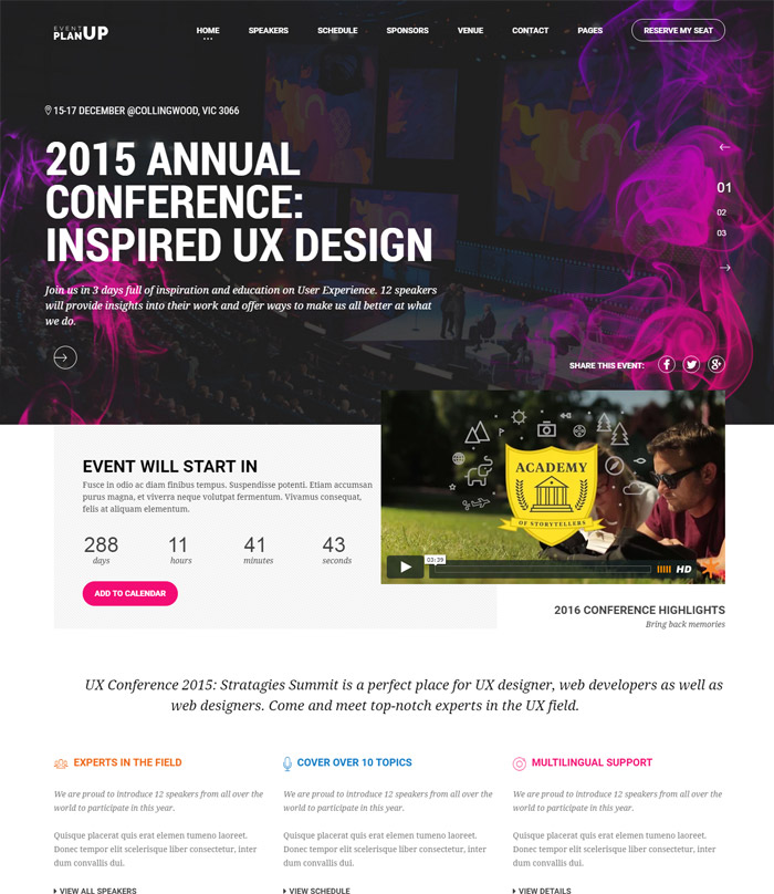 PlanUp Event Booking WordPress Theme