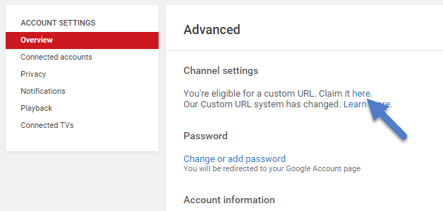 Add URL to Your YouTube Channel