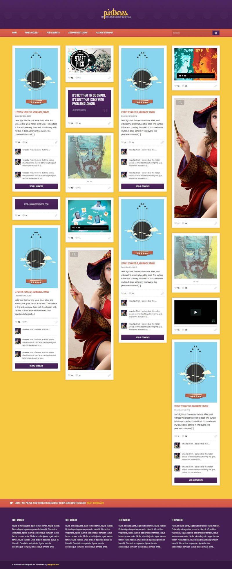 PINTORES Pinterest Style WordPress Theme