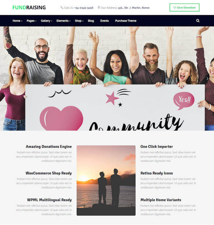 Fundraising Charity WordPress Theme