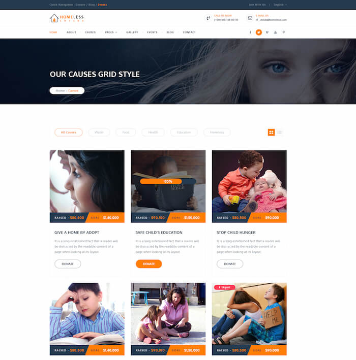 Homeless Childs Charity HTML Template