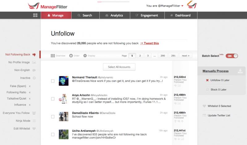 manageflitter twitter management tool