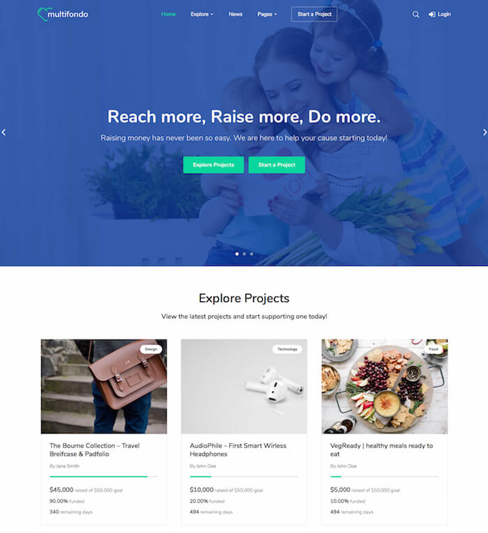 Multifondo Crowdfunding WordPress Theme