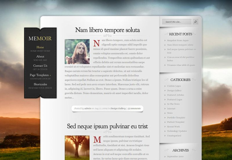 Memoir Tumblog Style WordPress Theme
