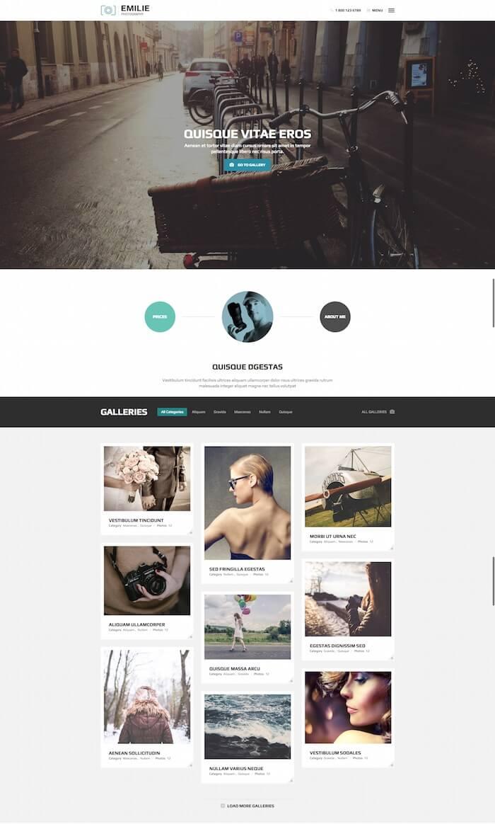 Emilie Photography Portfolio WordPress Theme
