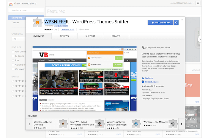 WordPress Themes Sniffer