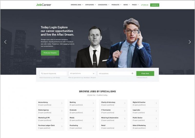 JobCareer Job Board WordPress Theme