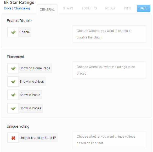 kk Star Ratings Options