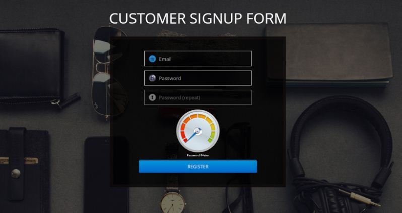 Login/Register Form with Pass Meter