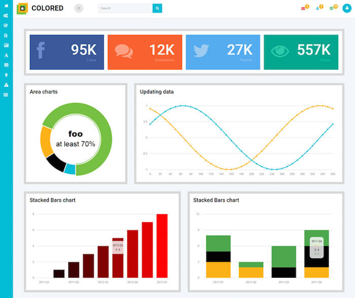 Colored Free Bootstrap Admin Template