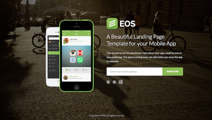 EOS Coming Soon page