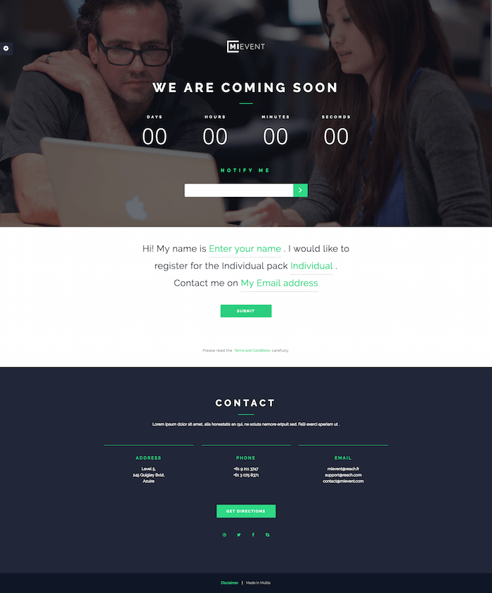 MiEvent Coming Soon Template