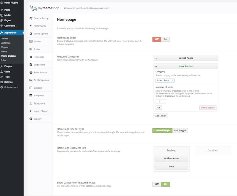 MyThemeShop Homepage Settings
