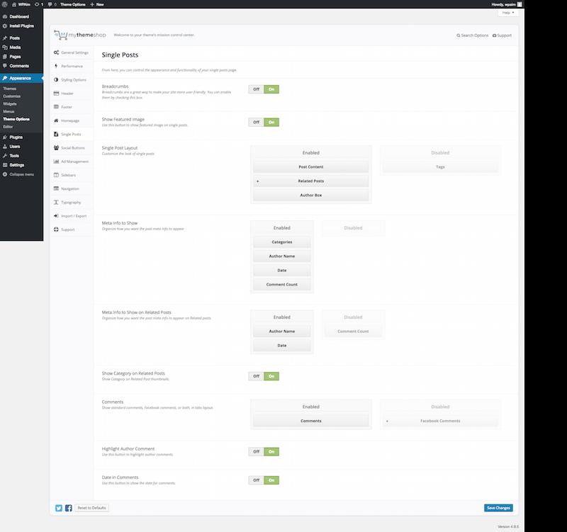 Single Page Settings MyThemeShop 2