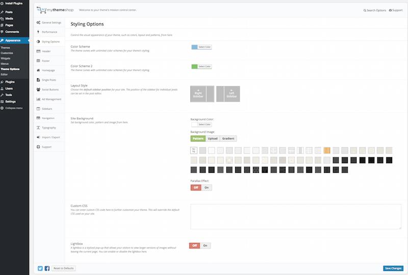 Styling Options MyThemeShop