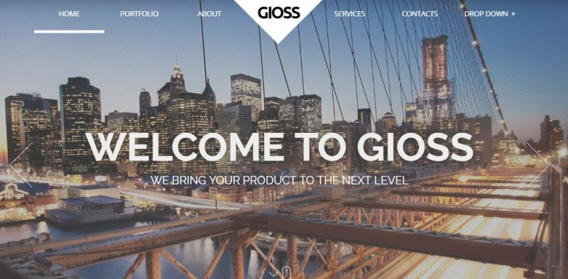 Gioss – Responsive HTML One Page Parallax