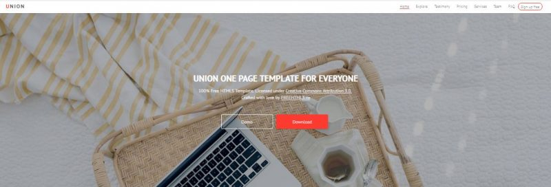 Union HTML Template