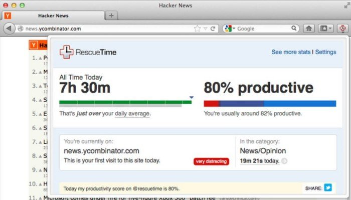 RescueTime for Firefox