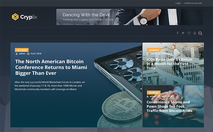 Cryplix - Bitcoin Blog WordPress Theme