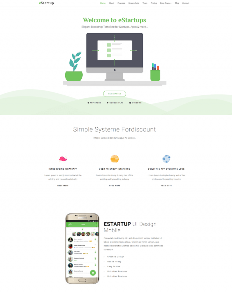 eStartup App Showcase Template