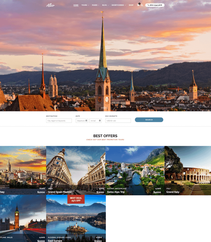 altair travel WordPress theme