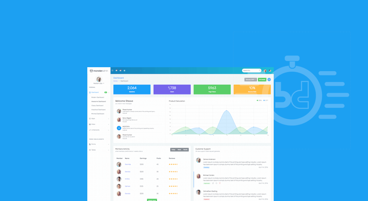40 best free bootstrap admin templates 2018