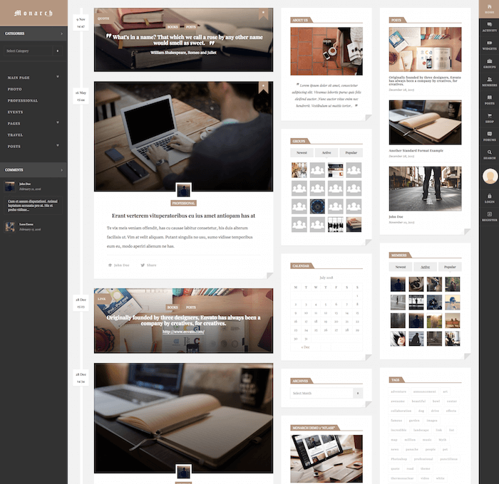 Monarch BuddyPress Theme