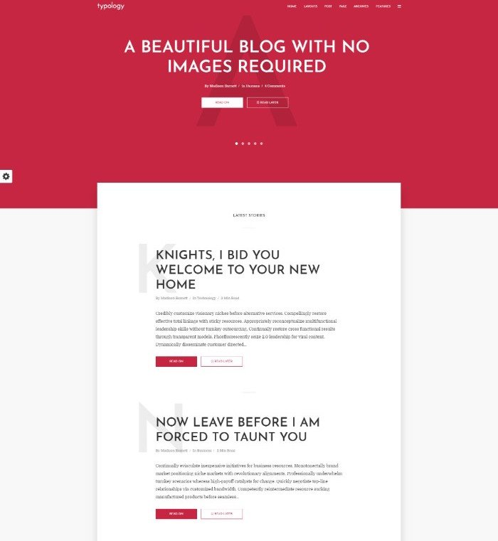 typology wordpress blogging theme