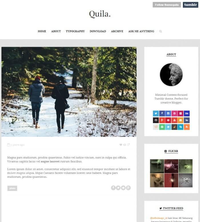 quila clean Tumblr theme
